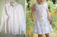turning a man's (linen) shirt into a sleeveless toddler sundress.