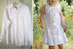 turning a man's (linen) shirt into a sleeveless toddler sundress.