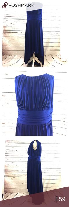 Coldwater Creek blue Dress Coldwater Creek;  High-Low blue Dress, Size 18, 95% polyester, 5% spandex, made in Vietnam Coldwater Creek Dresses High Low