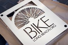 "Design of the logo for the city of Long Beach's bicycle program ""Bike Long Beach."" I like how this works as a cut-out/etching. Considering Bikes Welcome branded bike racks Bicycle Safety, Bike Logo, Creative Box, Bike Brands, Bicycle Store, Great Logos, Shop Logo, Logo Design Inspiration, Identity Design"