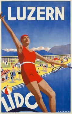 Vintage Resort Travel Poster by Solbach: Luzern~ Lido, Switzerland 1930