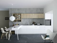 KITCHEN WITH PENINSULA WITHOUT HANDLES MILA 02 BY CESAR ARREDAMENTI | DESIGN…