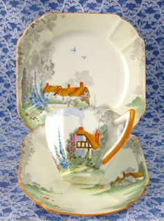 Shelley Cup And Saucer With Plate Trio Queen Anne Cottage 2 Art Deco. How fabulous. Vintage Dishes, Vintage China, Vintage Tea, Tea Cup Saucer, Tea Cups, Chocolate Cafe, Art Deco, Cuppa Tea, Teapots And Cups
