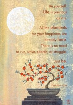 Be yourself. Life is precious as it is. All the elements for your... | Thich Nhat Hanh Picture Quotes | Quoteswave