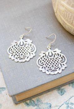 Silver Filigree Earrings Bridal Accessories