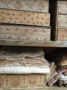 French antique fabric and boxes