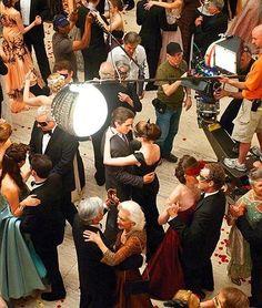 Christian Bale y Anne Hathaway en la grabación de Batman: El caballero de la noche.