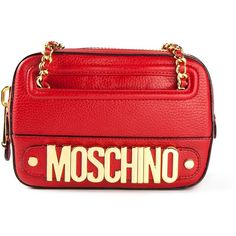 MOSCHINO logo shoulder bag ($490) ❤ liked on Polyvore featuring bags, handbags, shoulder bags, moschino, red, moschino handbags, red handbags, red shoulder handbags, chain handle handbags and shoulder hand bags