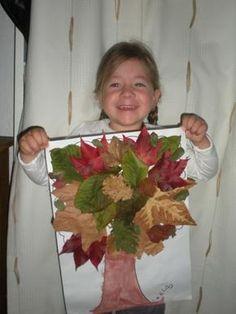Encore une activité d'automne de maternelle avec des feuilles mortes. Du collage facile pour les enfants de maternelle.