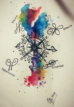 """Compass"" tattoo idea with watercolor"