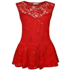 New Ladies Plus Size Sequins Lace Skater Peplum Frill Tops 16-26 ($27) ❤ liked on Polyvore featuring tops, red peplum top, plus size tops, sequin top, flounce bikini top and ruffle top