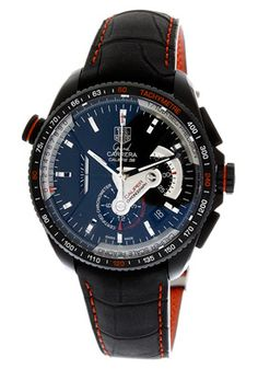 5bb5ed5bf29 TAG Heuer Mens Grand Carrera Leather Strap Chronograph Black Dial Watch     Click image for more details.
