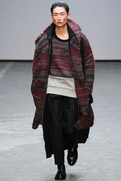 KNITTED COAT EXTREME LONG LINE CARDI Casely-Hayford Fall 2015 Menswear - Collection - Gallery - Style.com