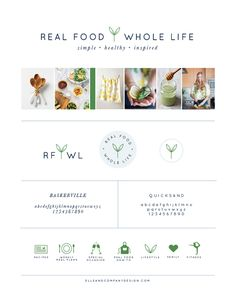 Brand style board for Real Food Whole Life - Elle & Company