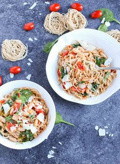 Roasted Tomatoes, White Beans, and Spinach with Whole Wheat Pasta - The Pasta Shoppe Wheat Pasta Recipes, Creamy Pasta Recipes, Vegetarian Pasta Recipes, Yummy Pasta Recipes, Chicken Pasta Recipes, Noodle Recipes, Rice Recipes, Healthy Pasta Dishes, Healthy Pastas