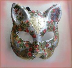masque vénitien de chat (fleurs et feuilles) - décoration murale - Capricesdechats - Fait Maison
