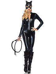 Sexy+Catwomen+Catsuit+Zentai+Costumes+Halloween+Black+Solid+Terylene+Leotard/Onesie+/+More+Accessories+–+CAD+$+68.79