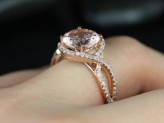 Kendra14kt Rose Gold Round Morganite and Diamonds by RosadosBox Omg.omg.omg. the ring. This one