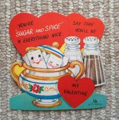 Vintage Valentine's Day Card - Anthropomorphic Sugar Cubes w/ Salt Pepper Shaker