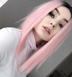 Pastel pink straight hair wig with dark roots by magicalien
