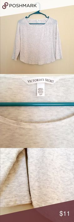 VS Raglan tee 2015 Snow Heather S Never worn. Nwot. 96%modal 4%elastane. Very soft fabric and beautiful color. with cute shorts, it would be simple & pretty 💫 sold out. The last pic is blur but shows exactly the same fit. Victoria's Secret Tops