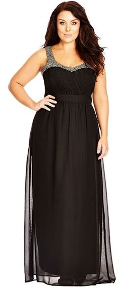 e0949911aa5 Plus Size Women s City Chic Embellished Chiffon Maxi Dress A sweeping  chiffon dress puts the focus on beautiful decolletage with a pleated  surplice bodice ...