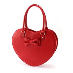 Ank Rouge 合皮ハートリボンBAG ❤ liked on Polyvore featuring bags, handbags, red, red handbags, red purse and red bags
