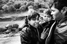 https://flic.kr/p/AvAWMe | Lesvos: Crossing to Safety | A relieved Afghan family, clearly still suffering from the trauma of a rough sea crossing at the hands of people smugglers, disembarks from a flimsy vessel onto a Lesvos beach. © UNHCR/Giles Duley
