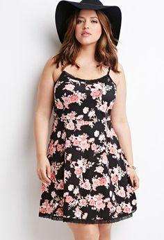 Rose Print Babydoll Dress | Forever 21 PLUS | #f21plus