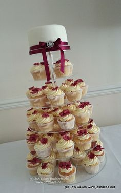 Claret Burgundy Wedding Blossom & Bow Cupcake Tower | Flickr - Photo Sharing!
