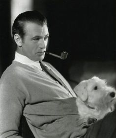 Gary Cooper with a Sealyham Terrier