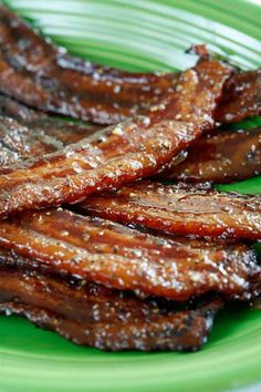 """Recipe For Brown Sugar and Black Pepper Bacon - If you're a fan of """"salty/sweet"""" AND a bacon fan, then this dish is for you. Also goes so good in baked beans, The best ever!~ just popping this here so I don't forget to make for snack at event."""