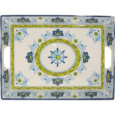 Amalfi Blue and Yellow Le Cadeaux Melamine Dinnerware, Tray by Le Cadeaux. $35.99. Not Microwave safe (melamine never is). Designs inspired by French and Italian pottery. Dishwasher safe-Triple weight, tested for durability. Safe enough for children. 17 by 21 inches. Heavy and durable special melamine, triple weight to ensure strength and resist shattering. Dishwasher safe, but not microwave safe (Melamine never is micro wave safe due to the nature of the manufactu...