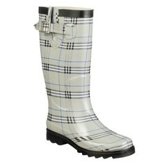 Plaid rain boots - Great for walking the dogs in the meadow on rainy days - Sears - 20 Dollars