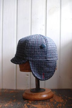 1b99d81d930 Flapjack M  Earflap hat in blue houndstooth