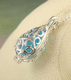 Rare GENUINE Aquamarine Sea Glass locket necklace
