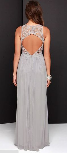 So Far Gown Grey Lace Maxi Dress at LuLu*s