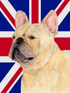 French Bulldog with English Union Jack British Flag 2-Sided Garden Flag