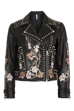Embroidered and Studded Leather Jacket from Topshop R5850,00
