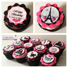 Paris themed cupcakes custom designed by Cupcake Crumbz