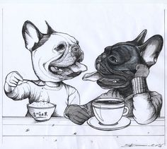 French Bulldogs Cafe and Sugar , sketchbook page for a custom dog painting by Jeroen Teunen