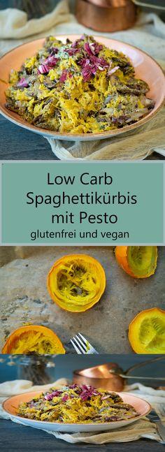 Spaghettikürbis richtig zubereiten! Veganes, low carb Spaghettikürbis-Rezept mit Pesto und gebratenem Herbstgemüse