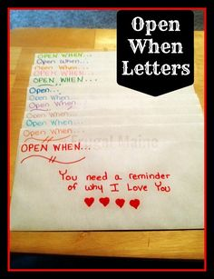 Open when... letters - 25+ Sweet Gifts for Him for Valentine's Day - NoBiggie.net