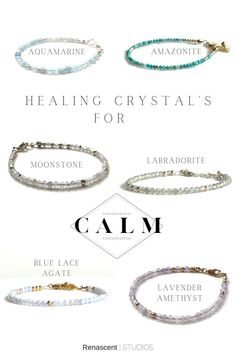 Feeling anxious? I don't know anyone who isn't at this point, lockdowns, unemployment, homeschooling, Covid, quarantine...etc... how can we not be? These crystals can help calm your emotions and bring a calming feeling to your environment. Holding, carrying or wearing healing crystals is thought to promote physical, emotional and spiritual healing. #anxietyrelief #healingcrystals #anxietycrystals #gemstonenecklaces #birthstonenecklaces #handmadejewelry #renascentstudios #calmingcrystals Layered Jewelry, Trendy Jewelry, Handmade Jewelry, Women Jewelry, Healing Crystals, Crystals And Gemstones, Crystal For Anxiety, Latest Jewellery, Birthstone Necklace