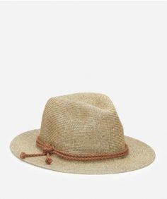 Women's Woven Paper Fedora With Faux Suede Braided Band