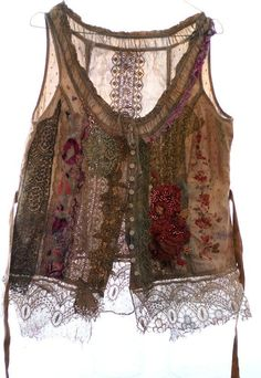 Pastorale  unique shabby chic bodice textile by FleurBonheur, $224.00                                                                                                                                                                                 Mais