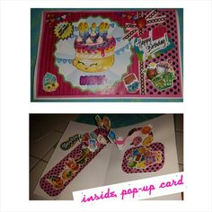 Shopkins birthday card, inside pop-up