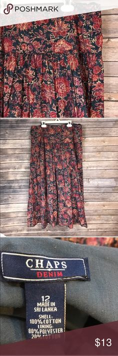 """Floral tiered peasant skirt Beautiful floral print in red, purple, and tan on a navy background. Navy lining. Zipper at side. 34"""" waist. 32"""" length. Beautiful for fall with brown boots! Like new condition. I purchased from another Posher, but it's a bit smug on me. Chaps Skirts Midi"""