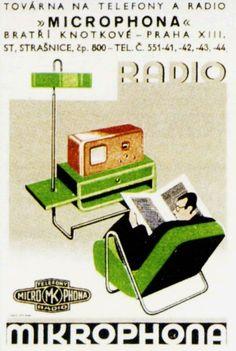 42 Vintage Radio Adverts from 1920-30s Czechoslovakia