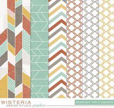 Abstract Retro Paper Pack  Digital Designs by WisteriaDesignStudio, $5.00